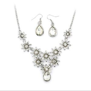 Silver white flower crystal necklace earrings set